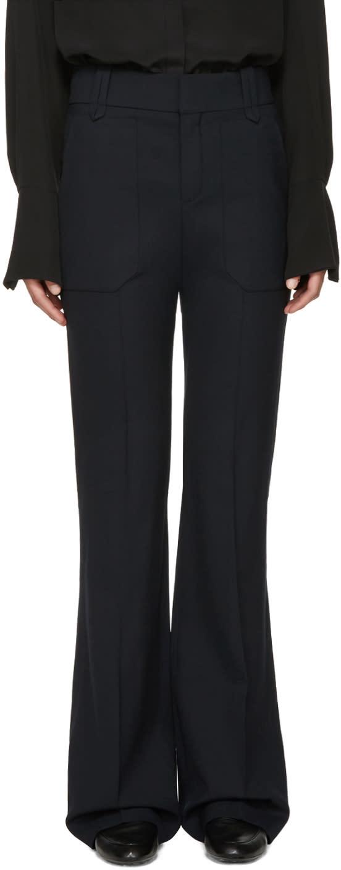 Chloe Navy Stretch-wool Trousers