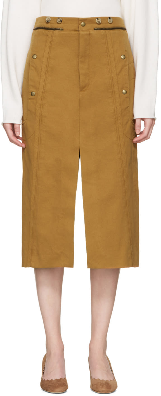 Chloe Tan Utilitarian Slit Skirt