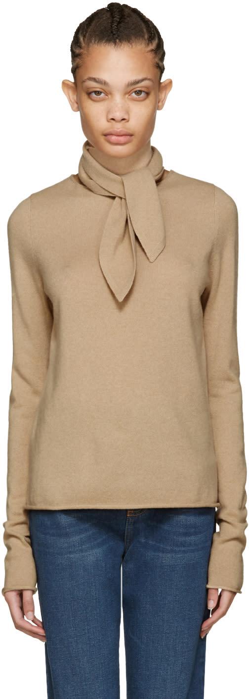 Chloe Brown Neck Tie Sweater