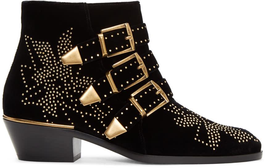 Chloe Black Velvet Susanna Boots