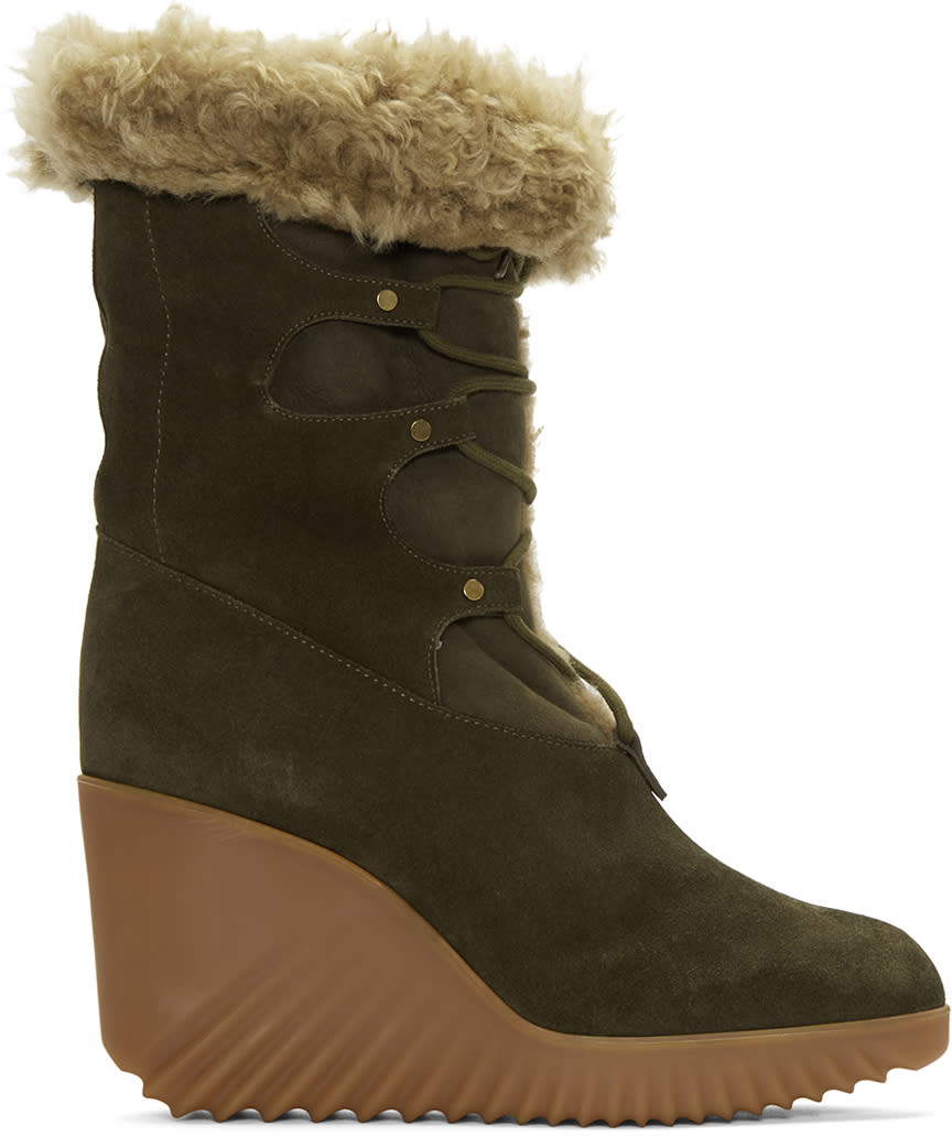 Chloe Green Shearling Foster Boots