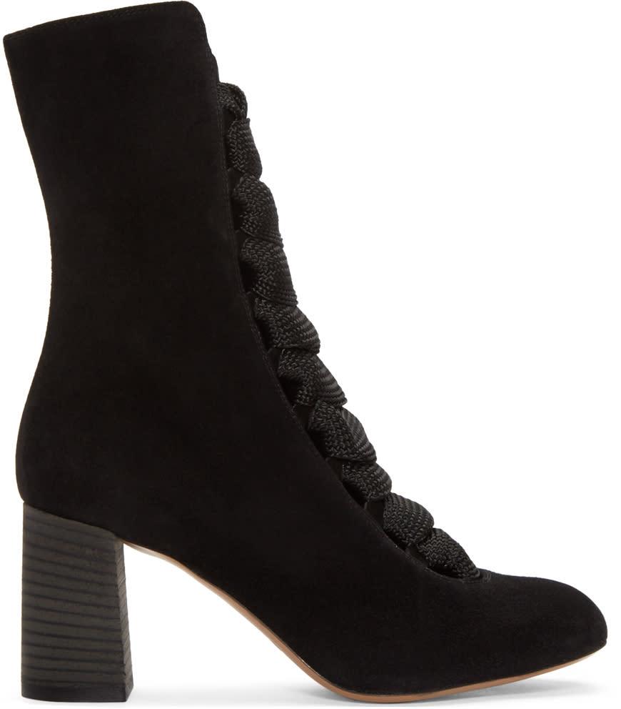 Chloe Black Suede Harper Boots