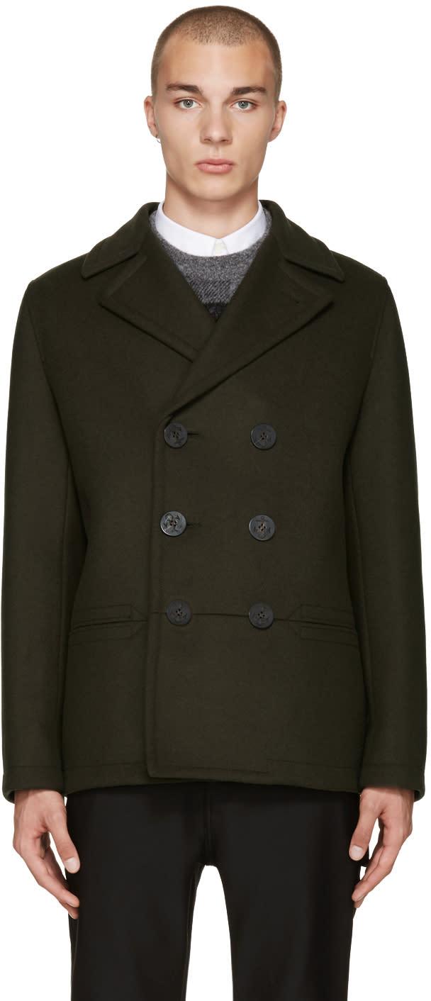 Balenciaga Green Double-breasted Pea Coat