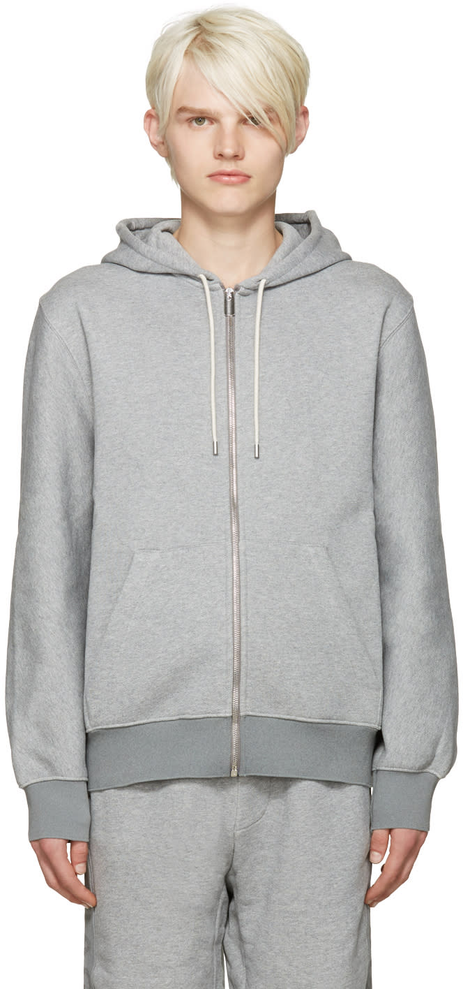 Balenciaga Grey Logo Zip-up Hoodie