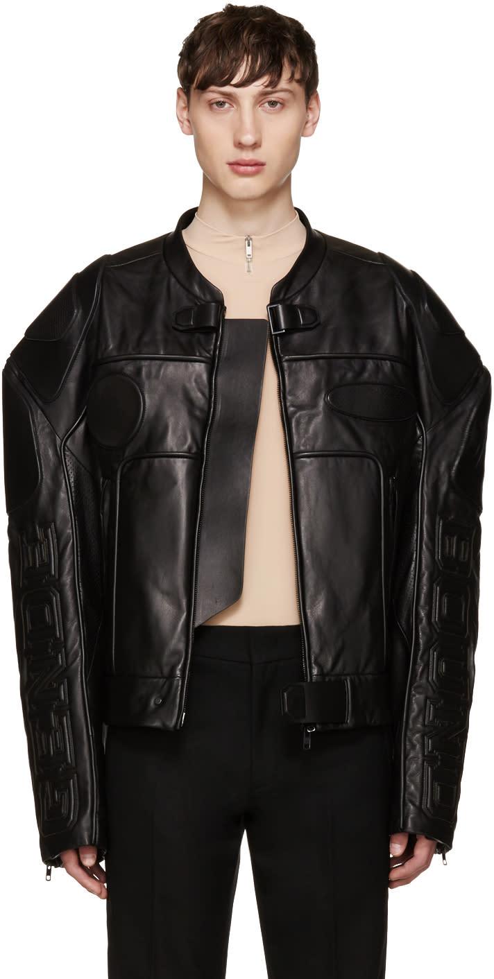 Juun.j Black Oversized Biker Jacket