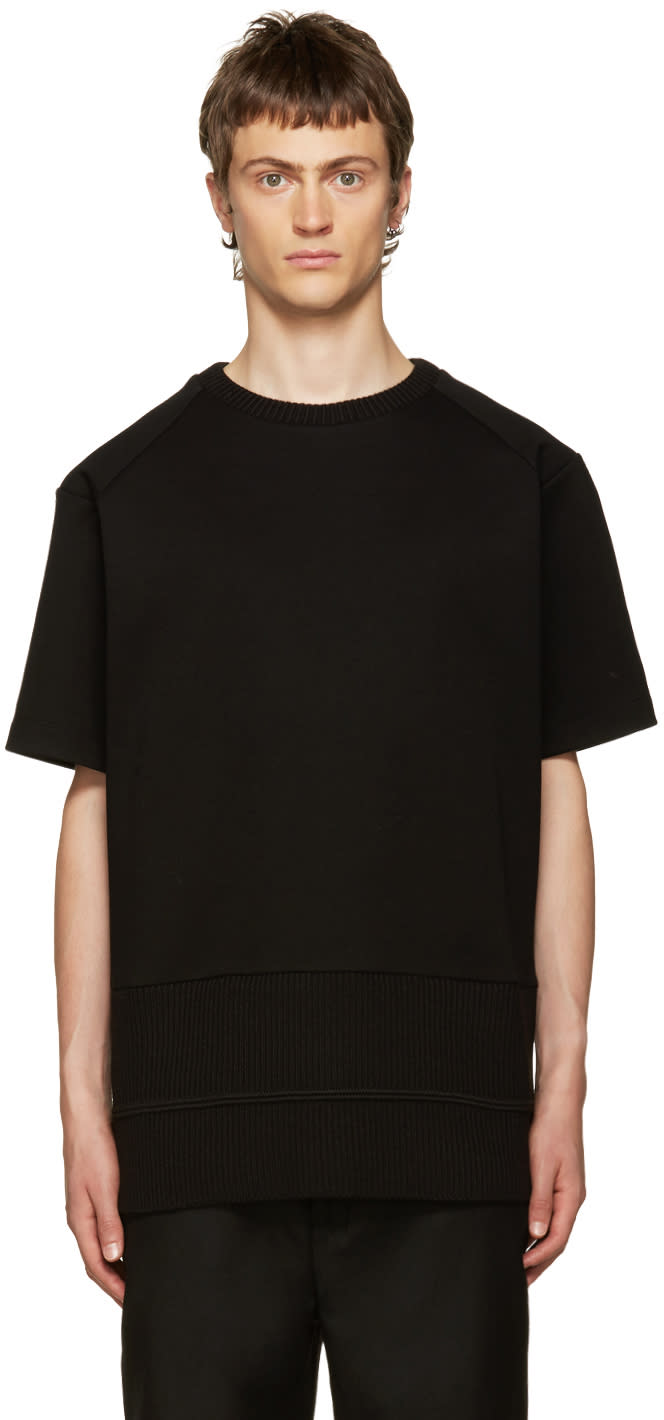 Juun.j Black Ribbed Mix T-shirt