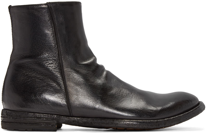 Officine Creative Black Leather Zip Boots