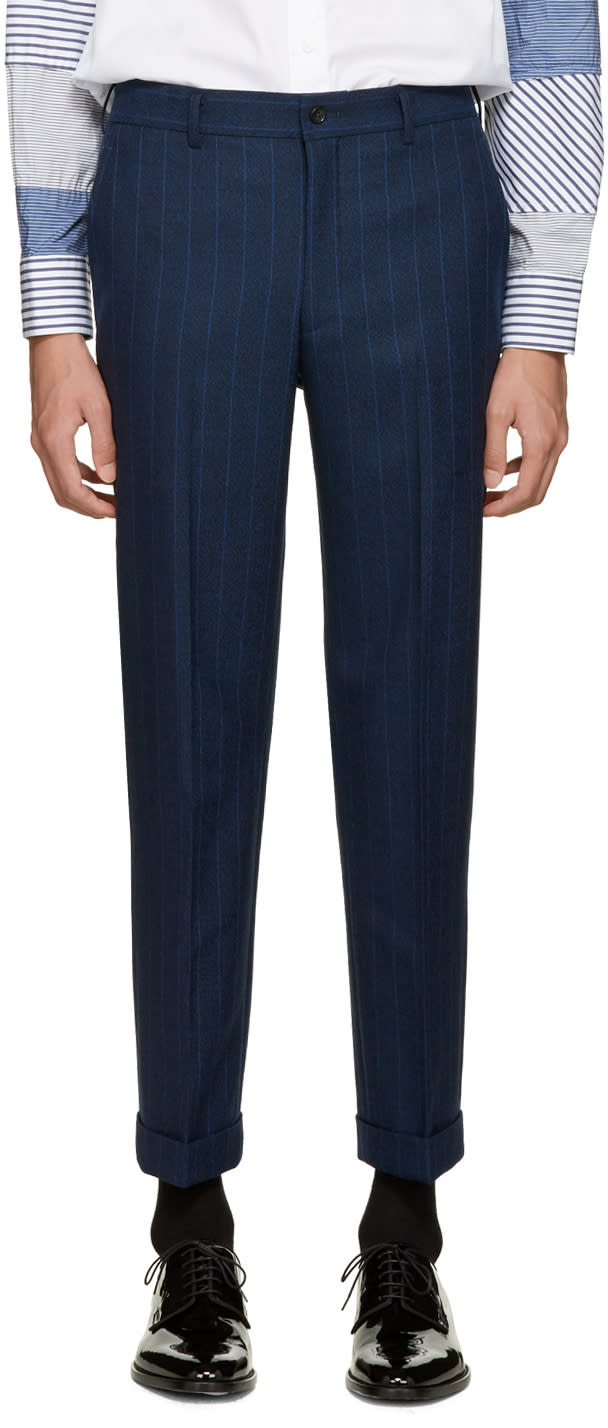Comme Des Garcons Homme Plus Navy Wool Striped Trousers