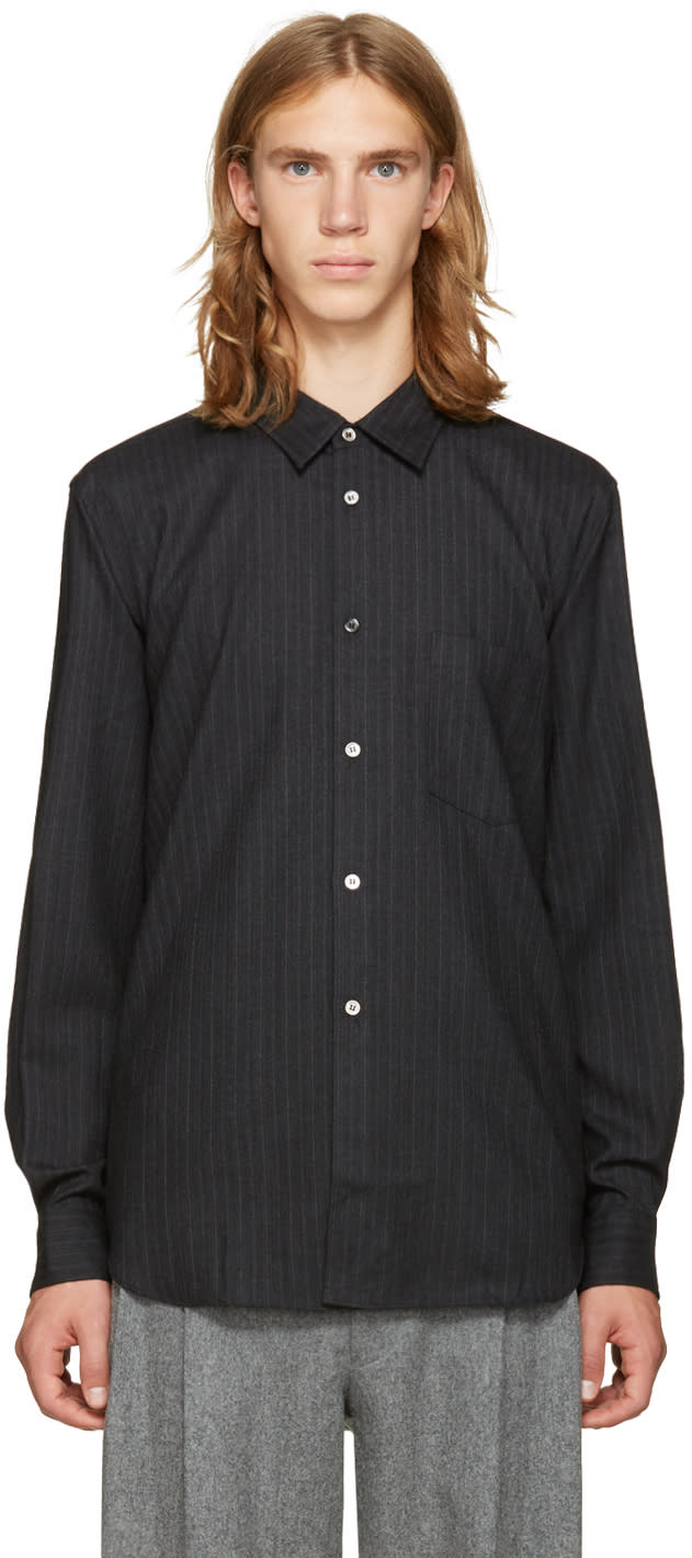 Comme Des Garcons Homme Plus Grey Wool Striped Shirt