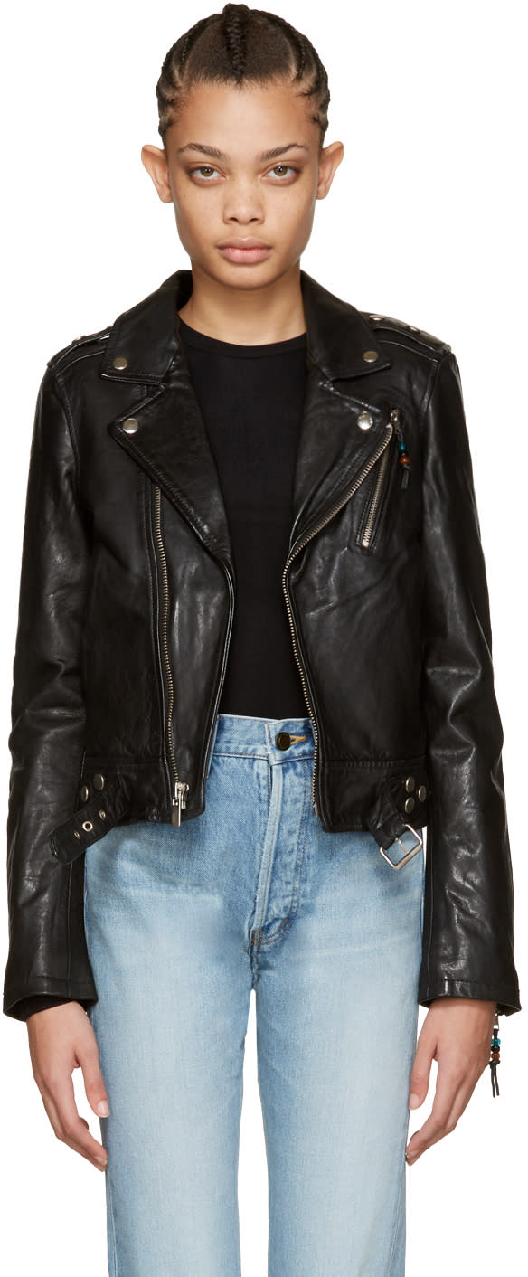 Blk Dnm Black Leather Classic Moto Jacket