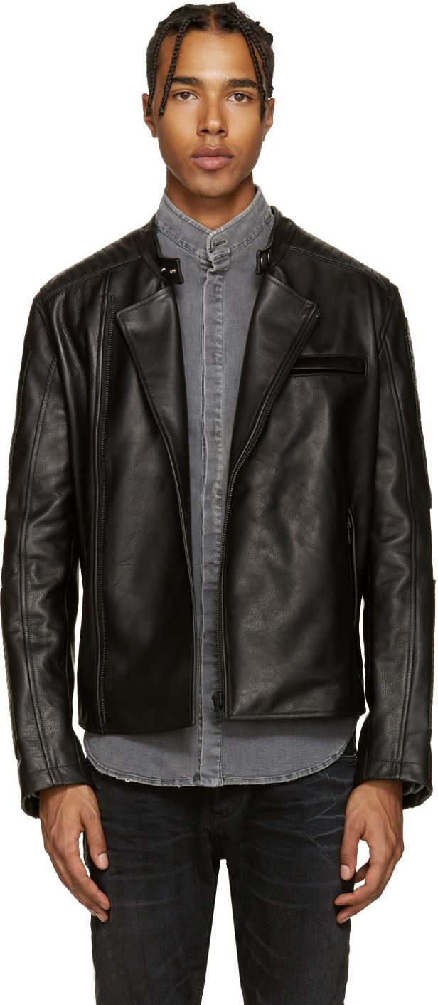 Pierre Balmain Black Leather Biker Jacket