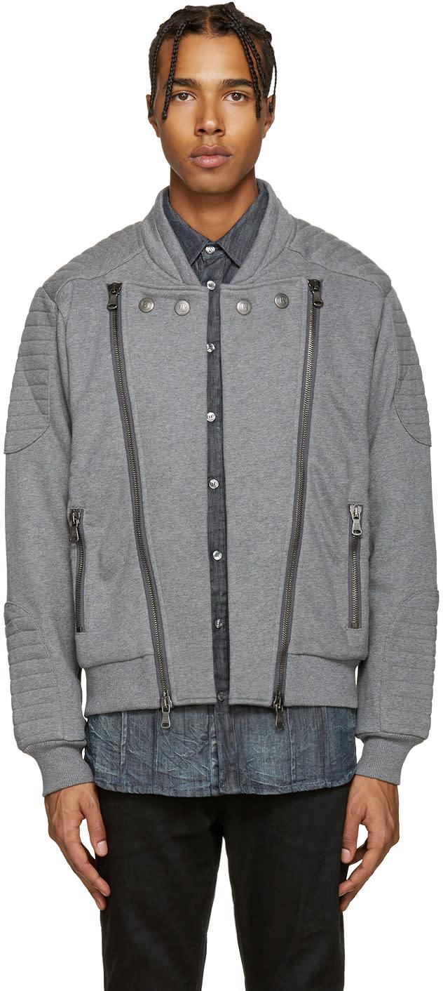 Pierre Balmain Grey Zip-up Moto Sweater