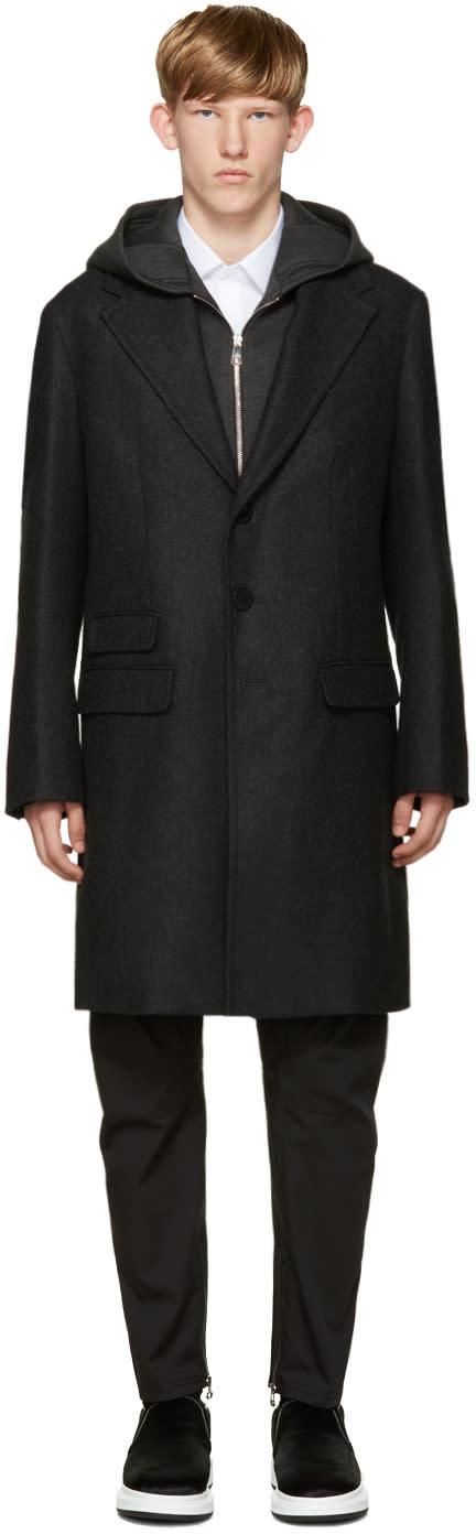 Neil Barrett Grey Layered Coat With Hood