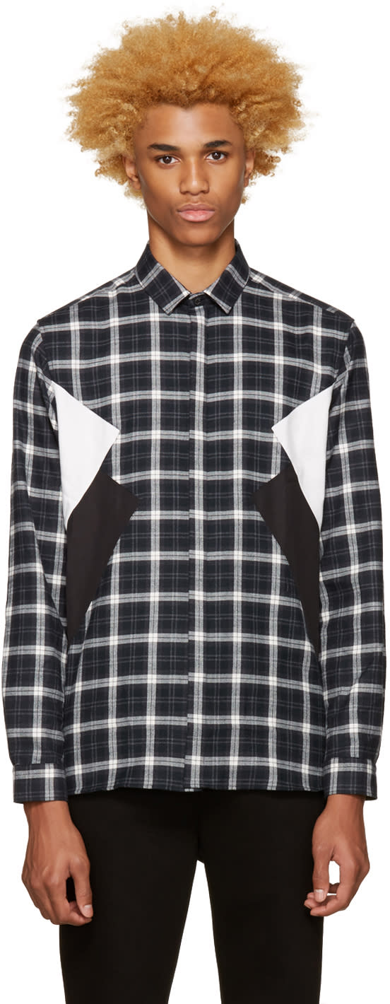 Neil Barrett Grey Flannel Plaid Shirt