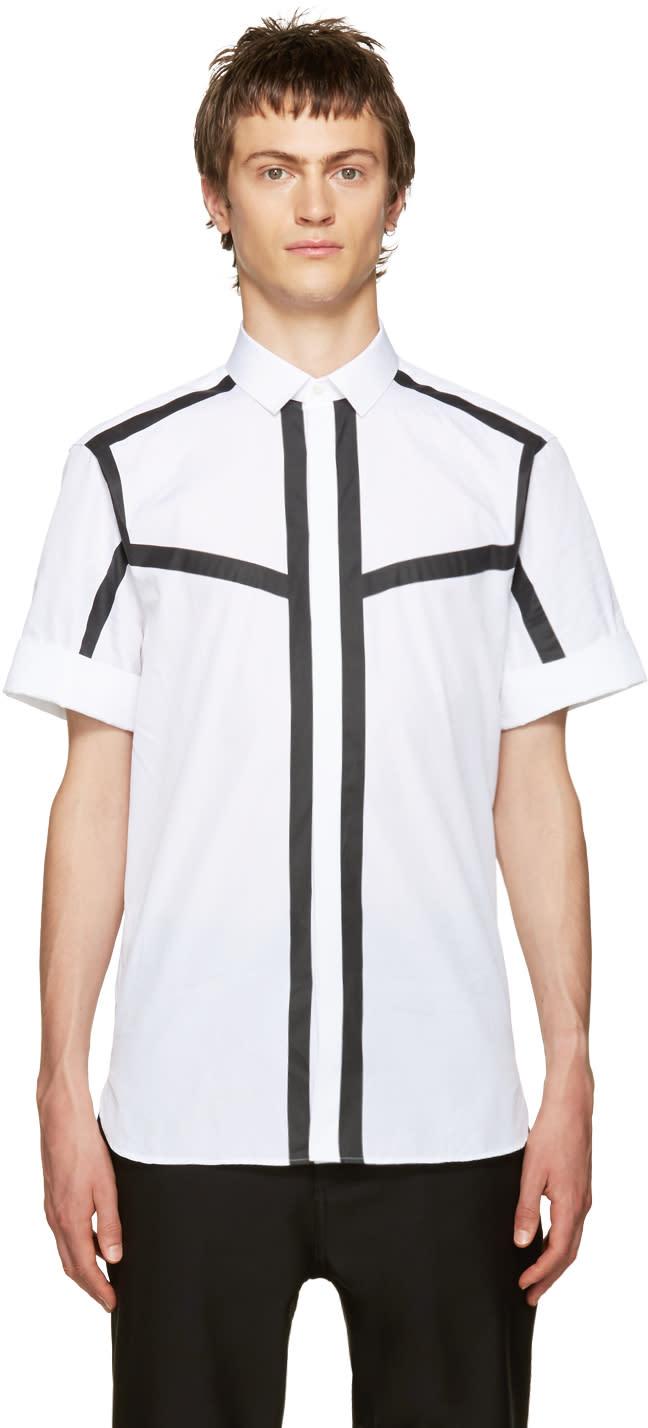 Neil Barrett White and Black Poplin Striped Shirt
