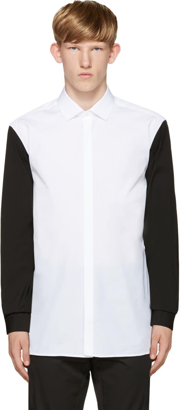 Neil Barrett White and Black Contrast Sleeve Shirt