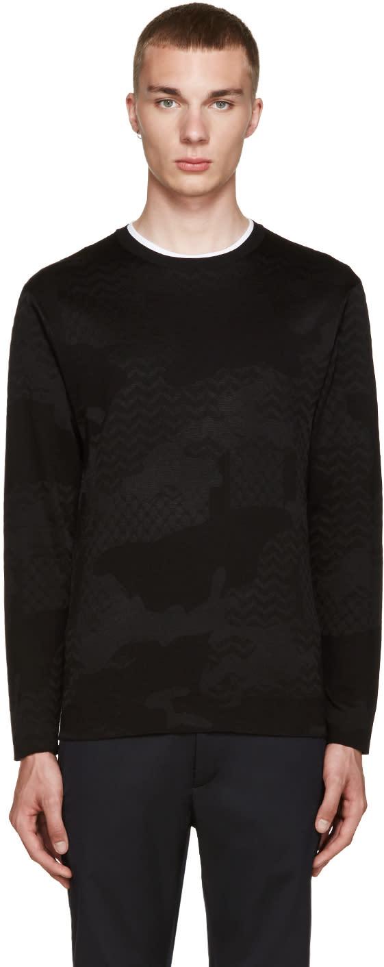 Neil Barrett Black Jacquard Camo Sweater