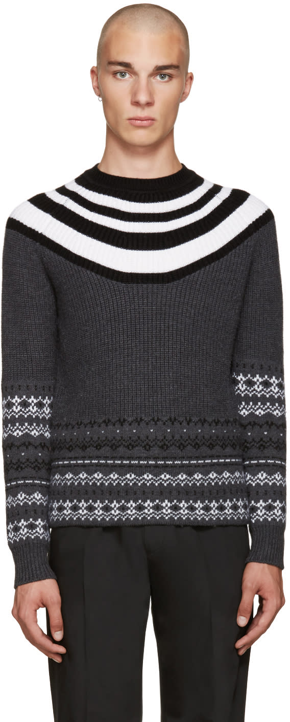 Neil Barrett Grey Retro Fair Isle Sweater