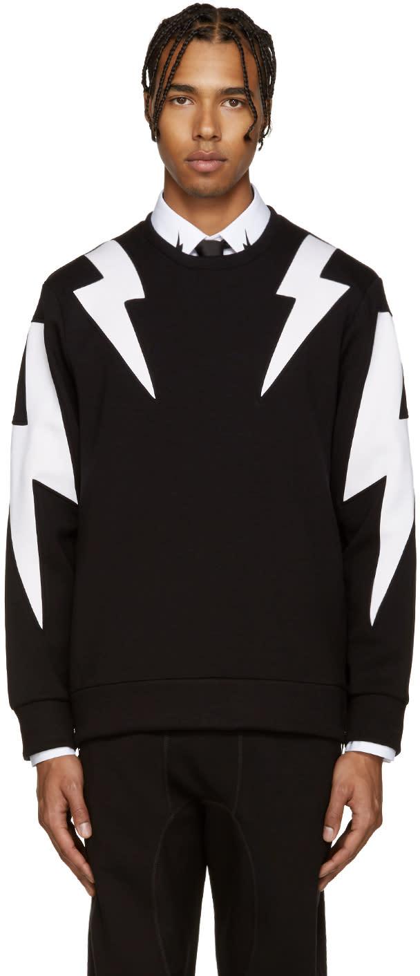 Neil Barrett Black and White Thunderbolt Pullover