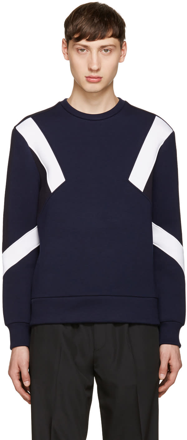 Neil Barrett Navy Retro Modernist Pullover