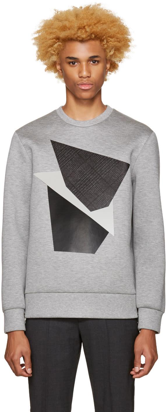 Neil Barrett Grey Modernist Blocking Pullover