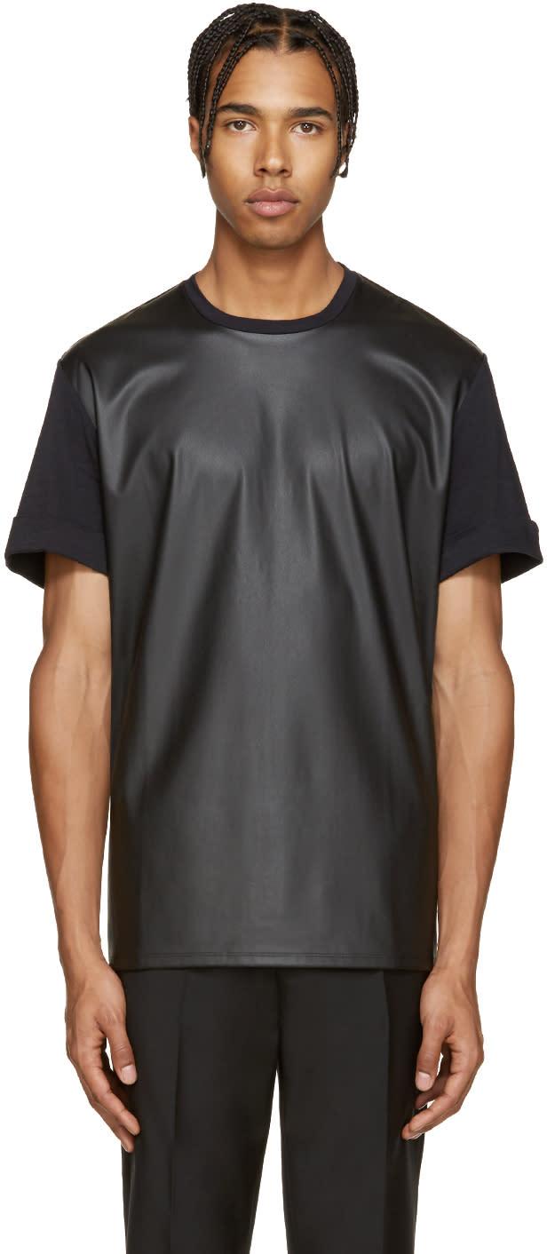 Neil Barrett Black Faux-leather T-shirt