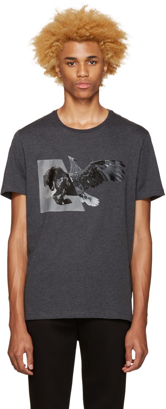 Neil Barrett Grey Horse Eagle Hybrid T-shirt