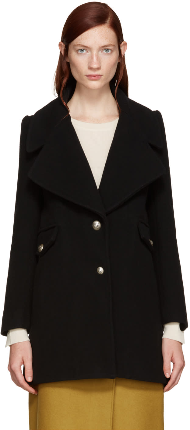 See By Chloe Black Double-breasted Coat