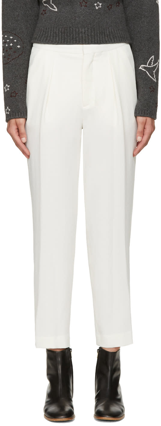 See By Chloe Off-white Crepe Trousers