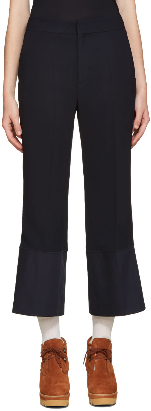 See By Chloe Navy Crepe Trousers