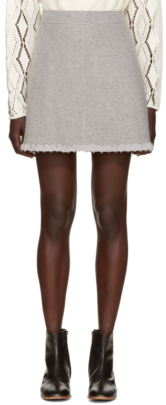 See By Chloe Grey Woven Chiffon Skirt