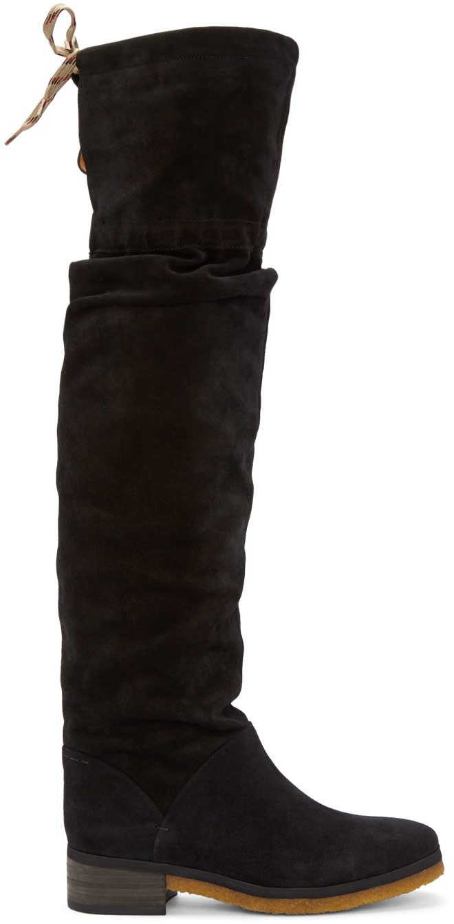 See By Chloe Black Suede Jona Over-the-knee Boots