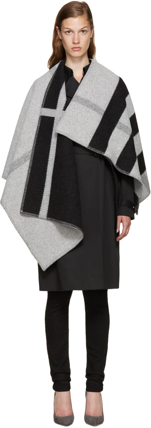 Burberry Black and White Mega Check Cape