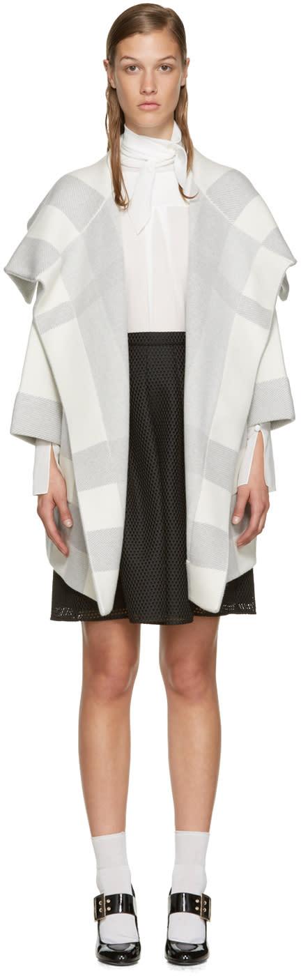 Burberry White and Grey Horlton Coat