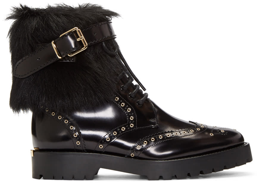 Burberry Black Fur-trimmed Whenaston Boots