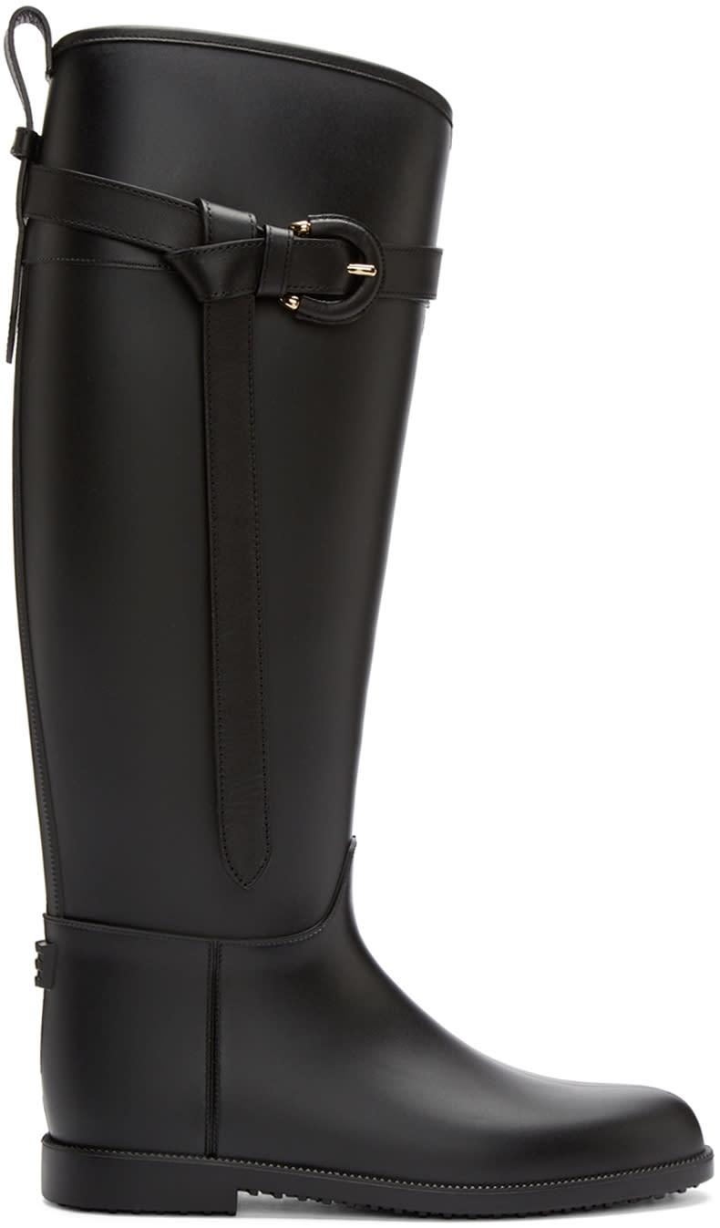 Burberry Black Roscot Riding Rainboots