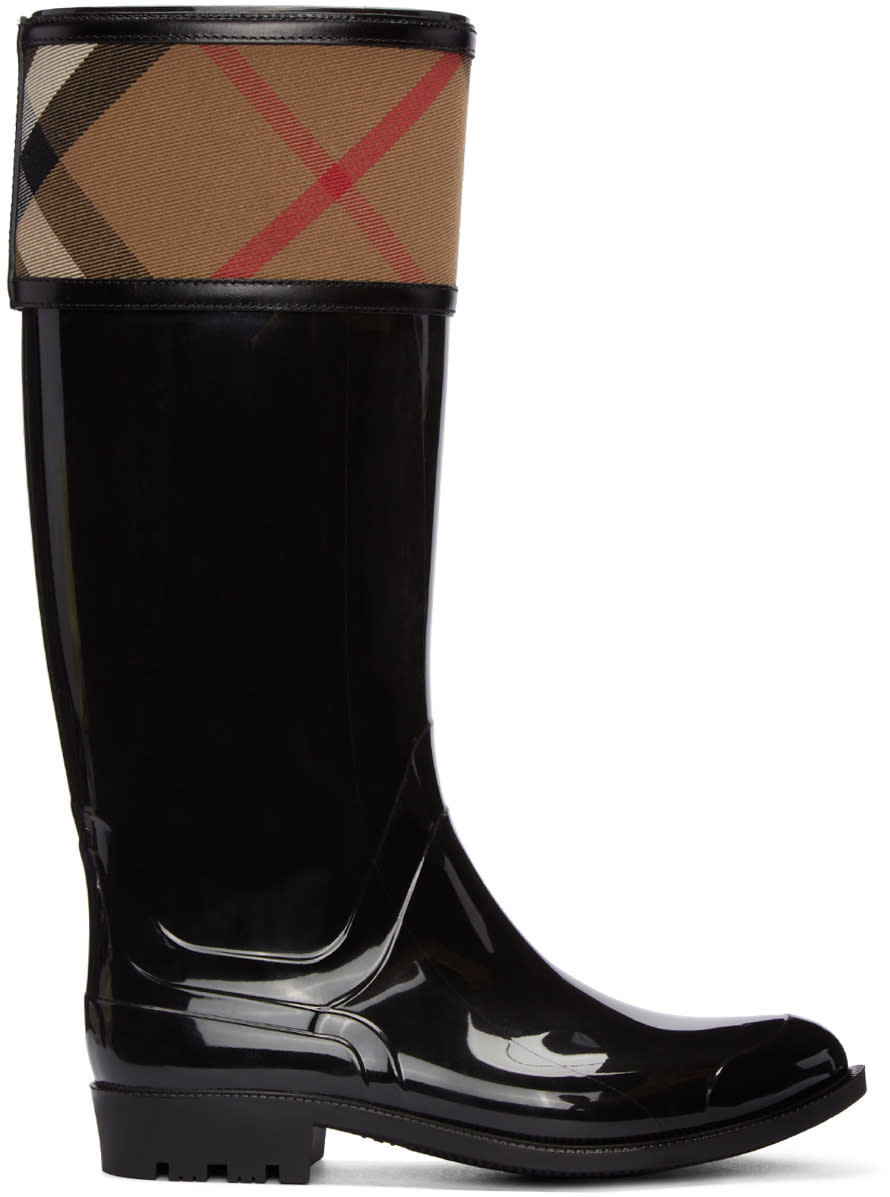 Burberry Black Crosshill Rain Boots