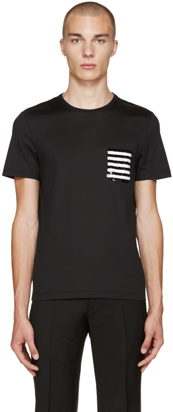 Burberry Black Sequin Pocket T-shirt