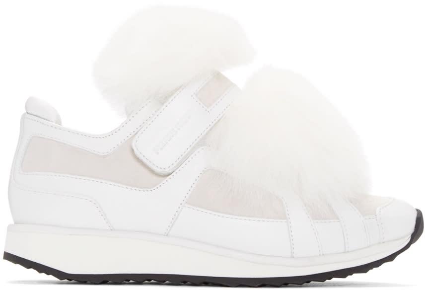 Pierre Hardy White Fox-trimmed Slip-on Sneakers