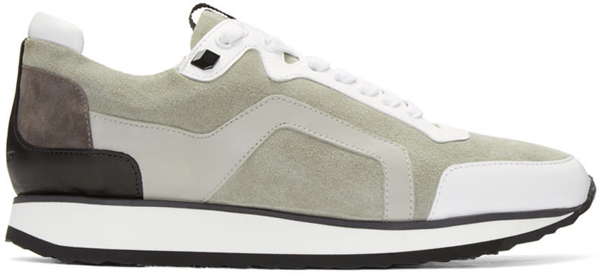 Pierre Hardy Grey Suede Track Sneakers