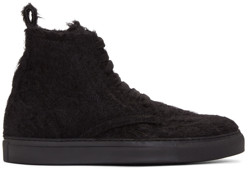 Ann Demeulemeester Black Mohair High-top Sneakers
