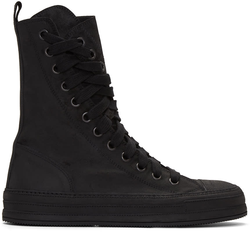 Ann Demeulemeester Black Nubuck High-top Sneakers
