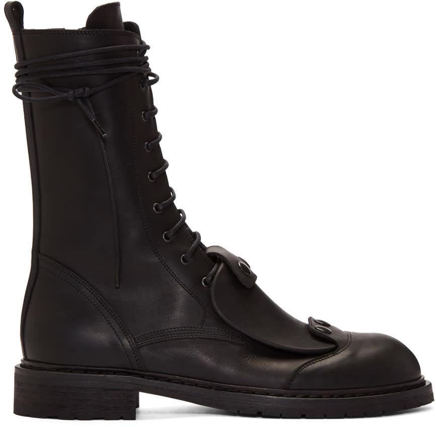 Ann Demeulemeester Black Combat Boots