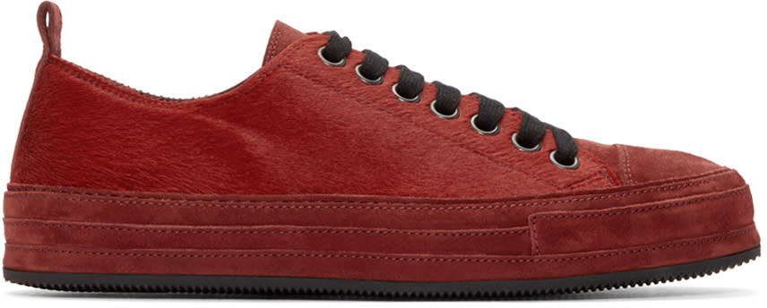 Ann Demeulemeester Red Calf-hair Sneakers