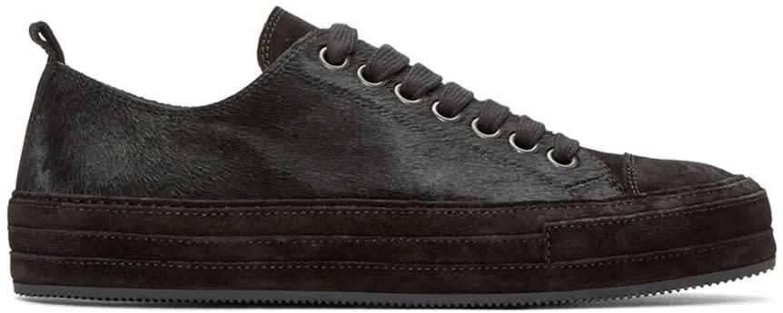 Image of Ann Demeulemeester Black Calf-hair Sneakers