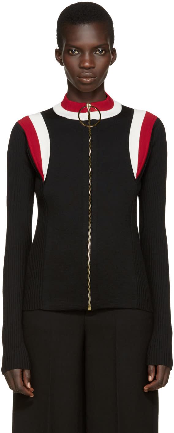 Marni Black Mock Neck Zip-up Sweater