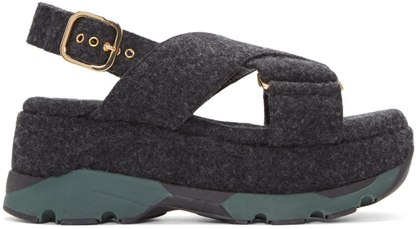Marni Grey Felted Platform Sandals