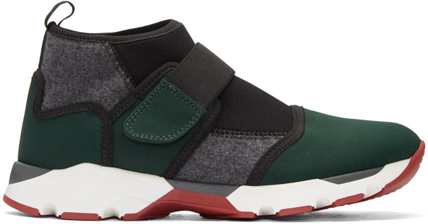 Marni Green Neoprene High-top Sneakers