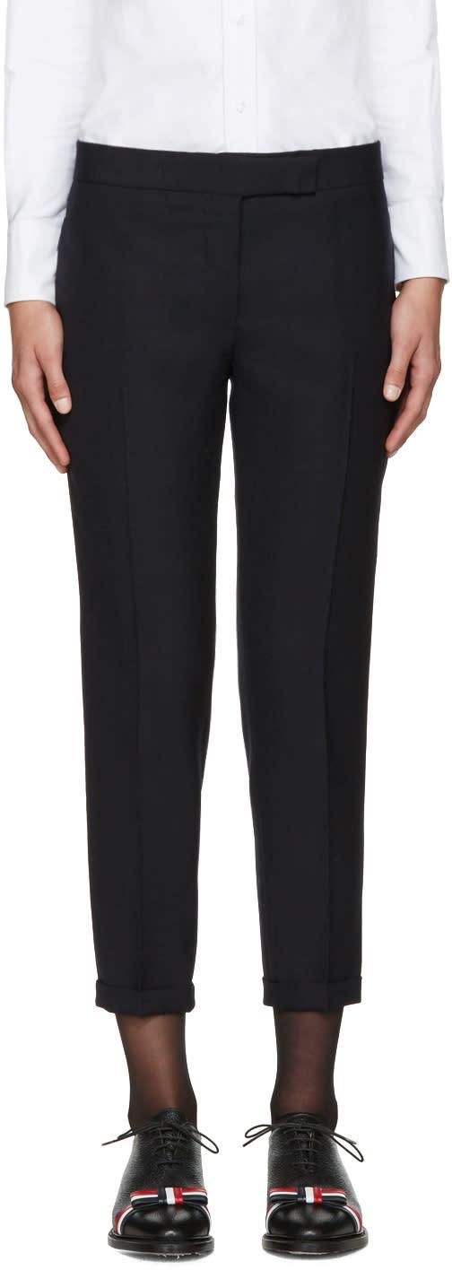 Thom Browne Navy Wool Skinny Trousers