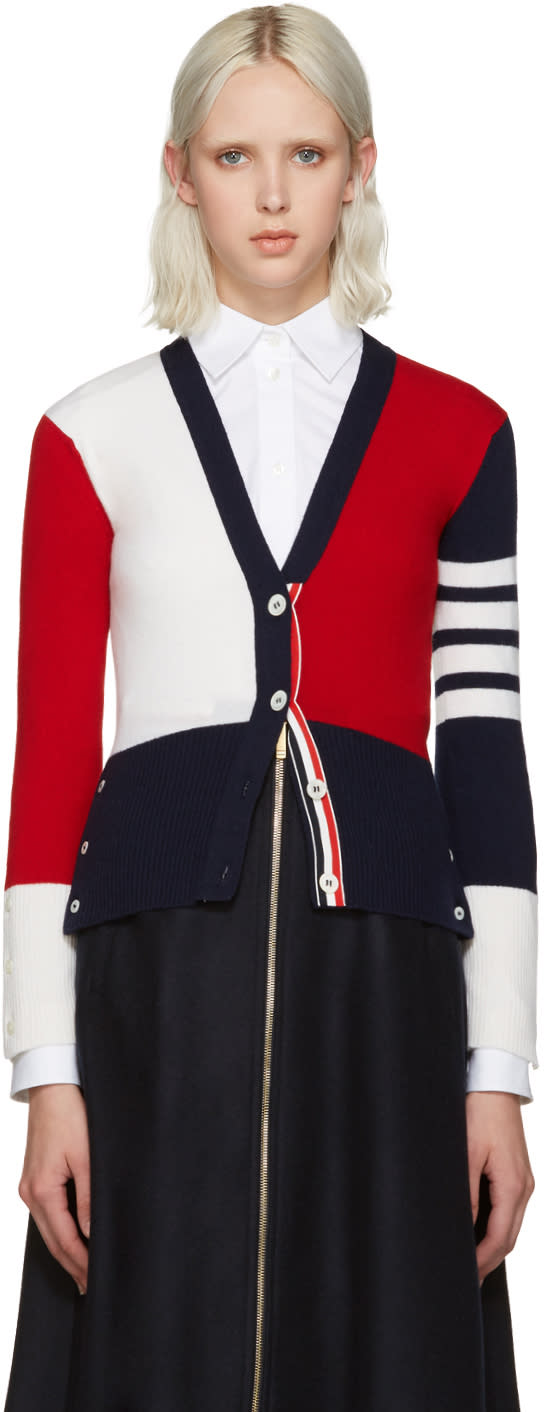 Thom Browne Tricolor Cashmere Cardigan